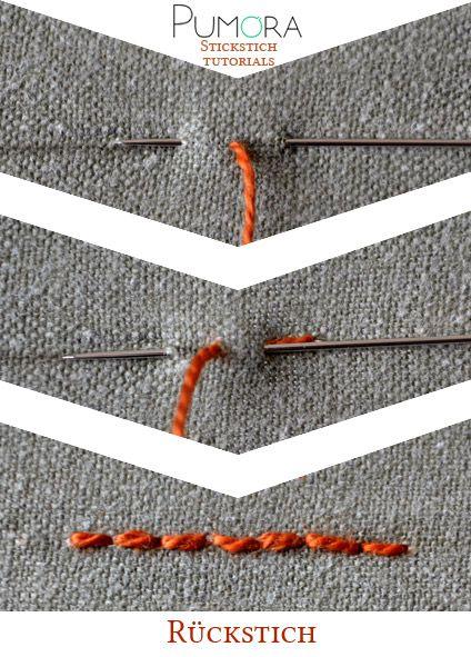 Pumora's Stich-Lexikon: der Rückstich; back stitch (EN); point de piqûre (FR); punto atrás/ punto pespunte (ES)