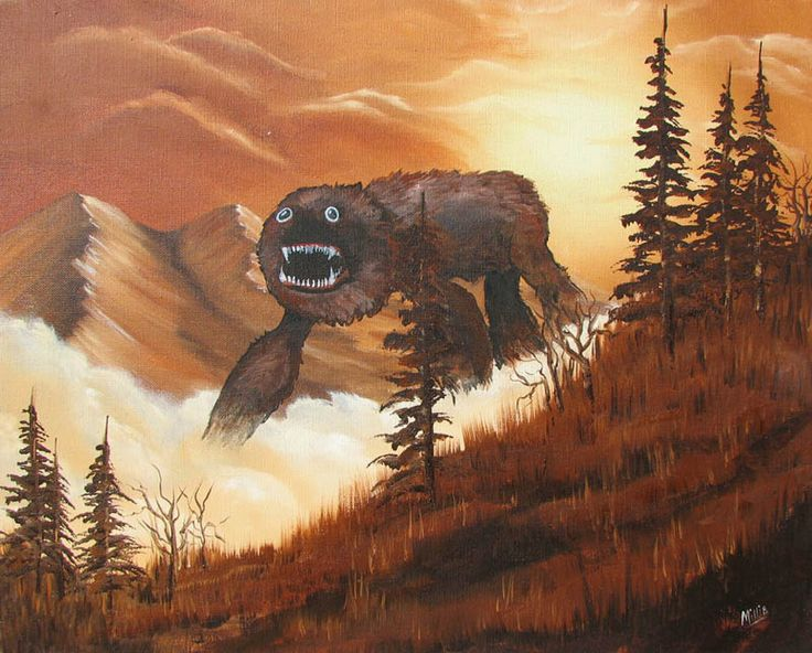 adding monsters to thrift store landscape paintings chris mcmahon (2)