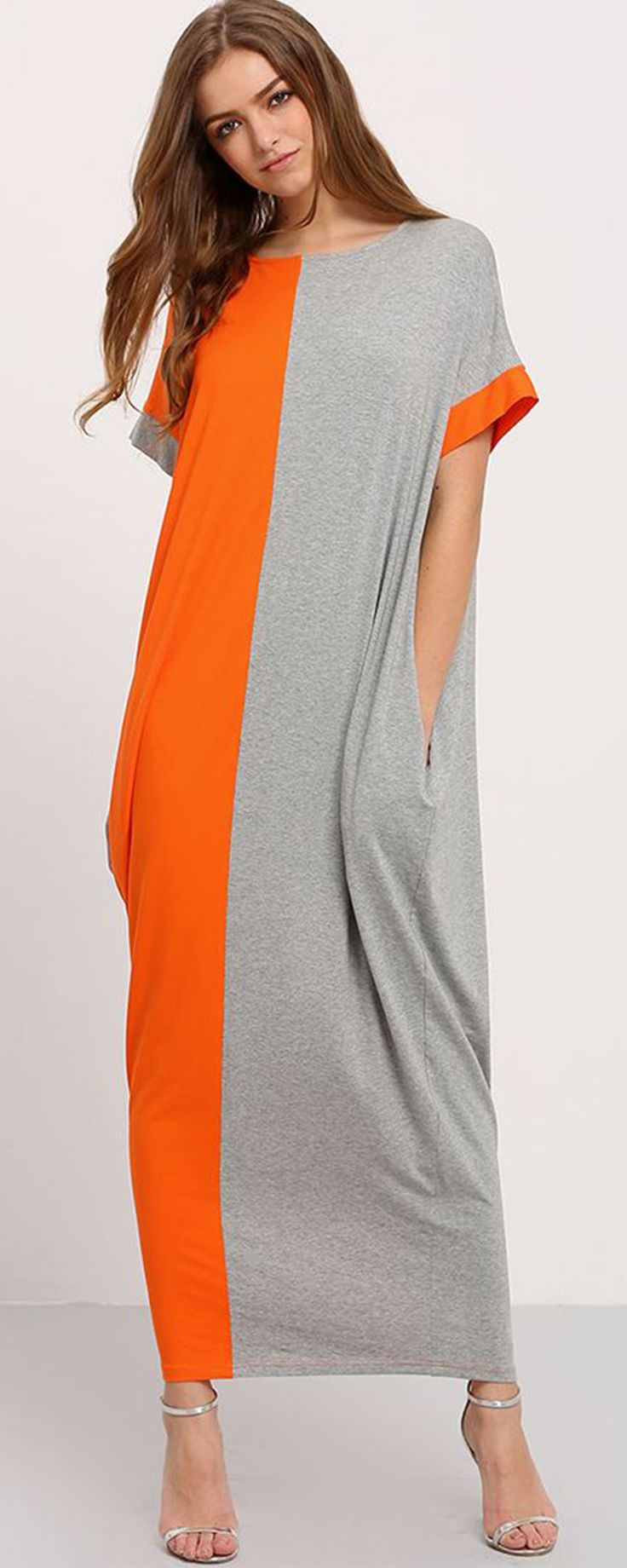 Grey Orange Contrast Pockets Maxi Dress