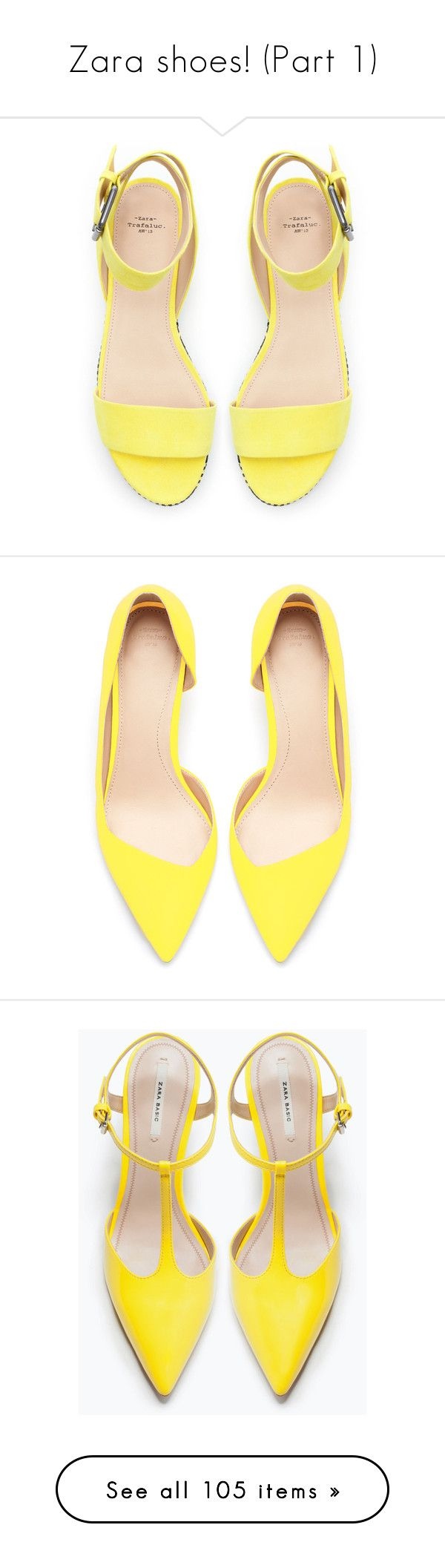"""Zara shoes! (Part 1)"" by blueladybird ❤ liked on Polyvore featuring shoes, sandals, heels, flats, yellow, flat heel shoes, yellow flats, zara footwear, zara sandals and flats sandals"