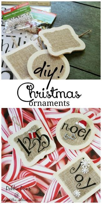 Christmas burlap and wood ornaments diy. #debbiedoos