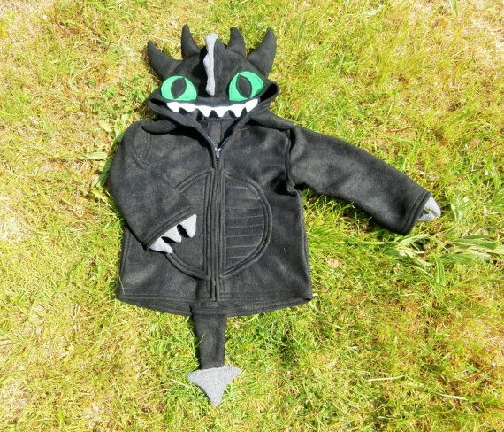 DRAGON HOODIE  Toothless Style with Spikes Eyes by RaggtaggPixie, £50.00