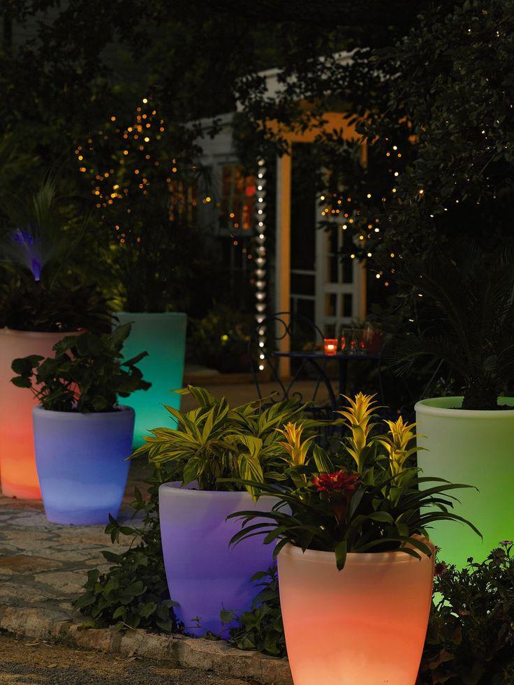Modern Outdoor Lightning As Illuminating Decoration For Awesome Exterior: Solar Illuminated Planter, Tall