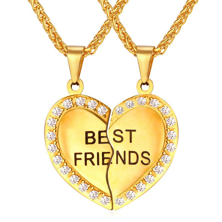 Best Friend Forever (BFF) Friendship Necklace Set - Comes in Gold or Silver