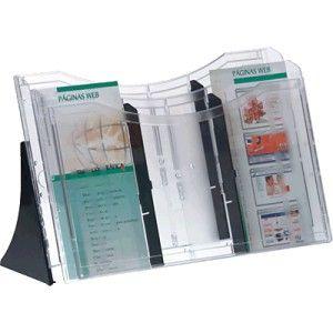 Expositor de 2 compartimentos A4 horizontal que incluye 4 separadores para formar distintas apartados, segun el tamaño de los documentos a colocar.  Con 2 pies para colocar de sobremesa
