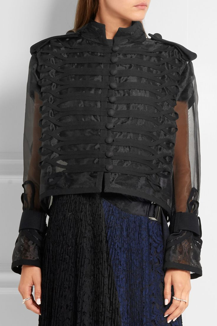 Sacai | Cropped lace and canvas-trimmed organza jacket | NET-A-PORTER.COM