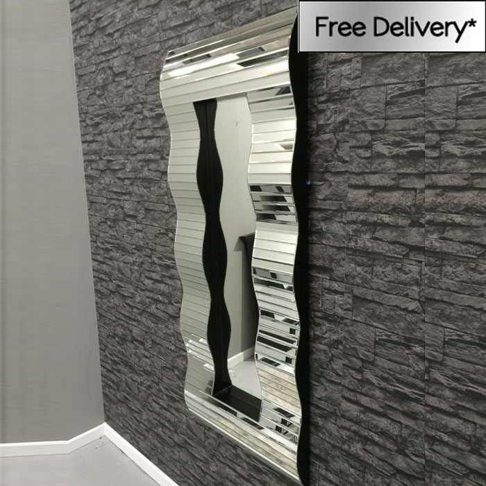 Large full length waves mirror 150 x 60cm frame mirrors for Big full length wall mirror