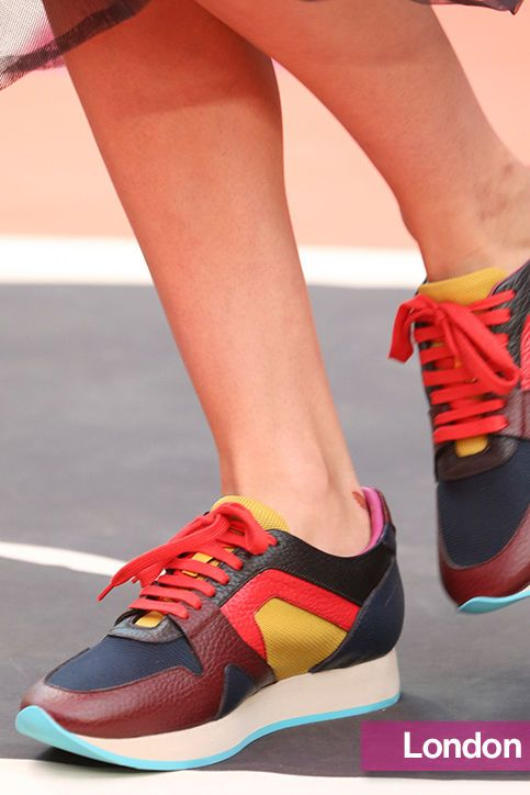 Spring 2015 Shoe Trends: Flats, Sneakers, Heels: Burberry's multicolor sneakers Glamour.com