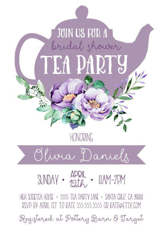 Bridal Shower Tea Party Invitation Purple Great For A Tea Party Or High Tea Bridal Sho Bridal Shower Tea Tea Party Bridal Shower Bridal Shower Tea Party Food