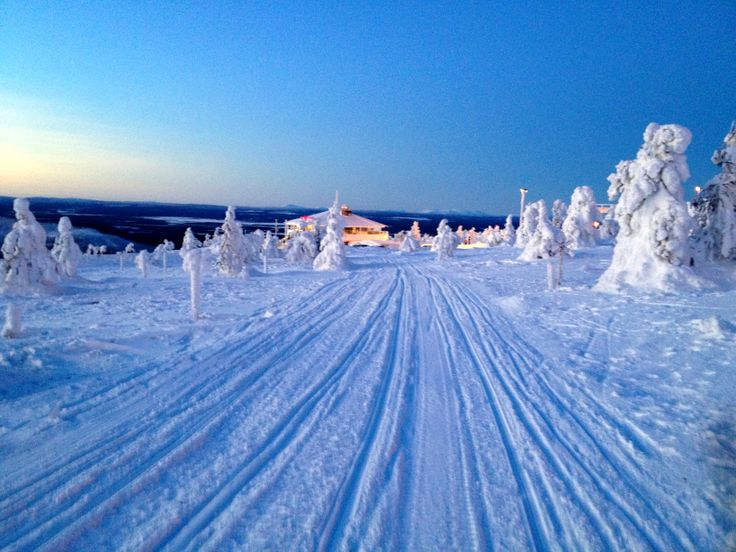 snowy road to restaurant Tuikku in Levi, Finland