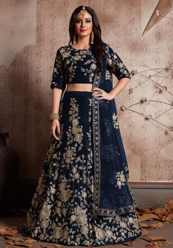 e677128500 Shop Online Designer Blue Colour Velvet Silk Fabric Lehenga Choli SFY275  #silklehenga