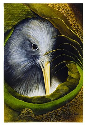 Kiwi Nest, Medium Art Block - Robyn Forbes http://www.shopnewzealand.co.nz/en/cp/Kiwi_Bird_Print