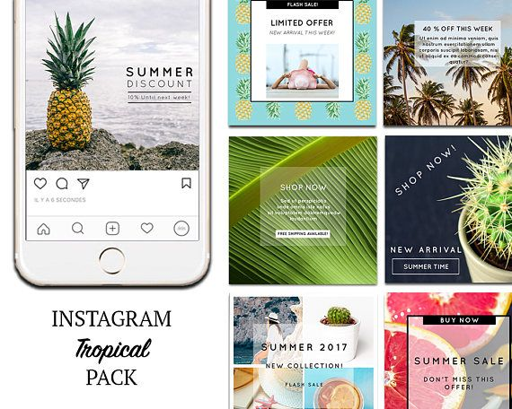 TEMPLATES: Instagram Templates, Tropical, summer template Social Media Marketing DIY Designs, Premade Photoshop Templates. PSD.