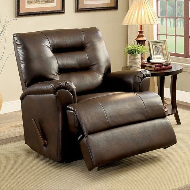 Benzara Maja Transitional Recliner Chair, Brown Finish, Size Standard (Upholstered)