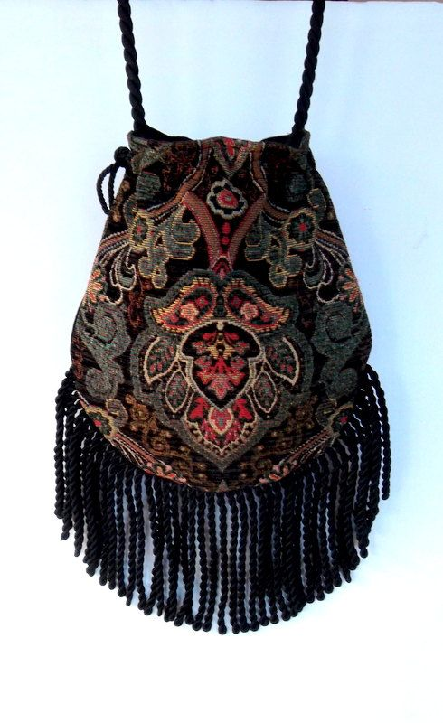 Fringed Tapestry Gypsy Bag Black Cross Body Bag Bohemian Indie bag renaissance…