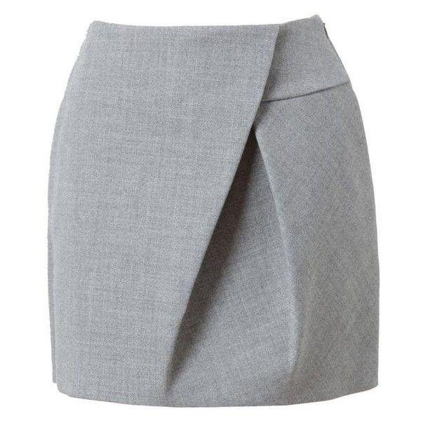 3.1 PHILLIP LIM Asymmetric Folded Wool Miniskirt ❤ liked on Polyvore featuring skirts, mini skirts, gray wool skirts, grey skirt, gray skirt, asymmetrical mini skirt and foldover skirts