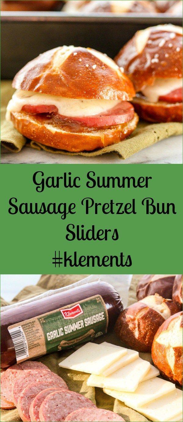 Garlic Summer Sausage Pretzel Bun Sliders #klements #linkup