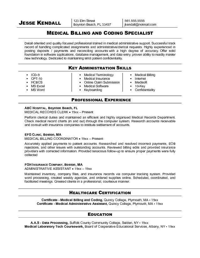 resume examples for medical coding resume and cover letter - insurance billing specialist sample resume
