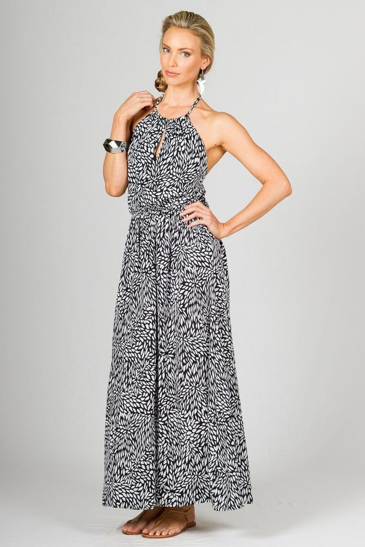 """Havana Maxi Dress - Black - Paper Scissors Frock. One size fits standard ladies 8-12. Beautiful 3/4 length Maxi Dress, with keyhole feature at front, ties around the neck and smocked at back to allow a comfortable fit.  Made from Rayon.  Pictured Model 5'9"""""""
