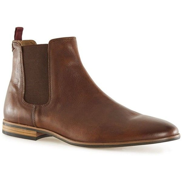 TOPMAN Tan Leather Chelsea Boots (230 BRL) ❤ liked on Polyvore featuring men's fashion, men's shoes, men's boots, brown, mens brown leather boots, mens leather shoes, topman mens shoes, mens brown shoes and mens brown leather shoes