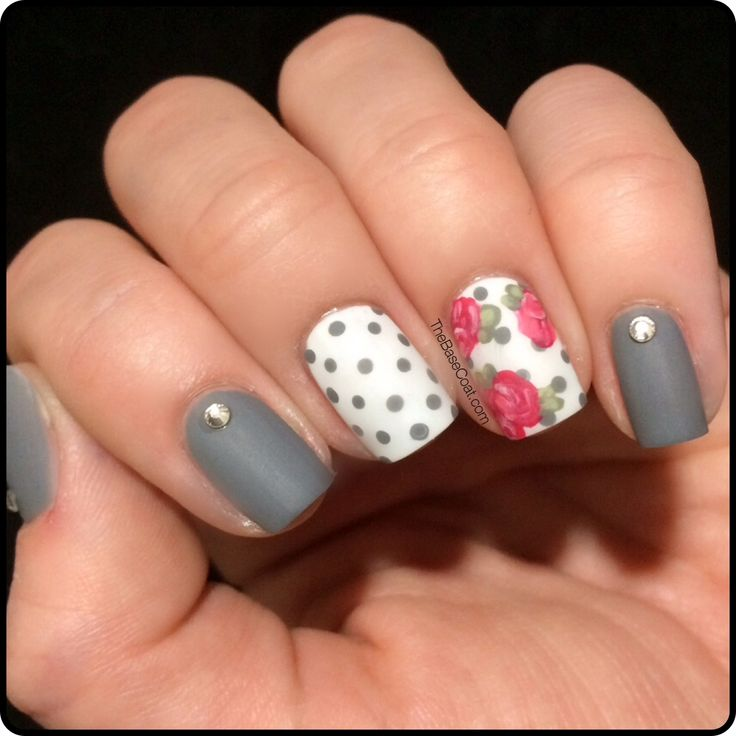 Gray, polka-dot, and rose florals are the perfect shabby chic look for nails this fall! Contact me at facebook.com/glamjamsquad to get your custom nail wraps today!