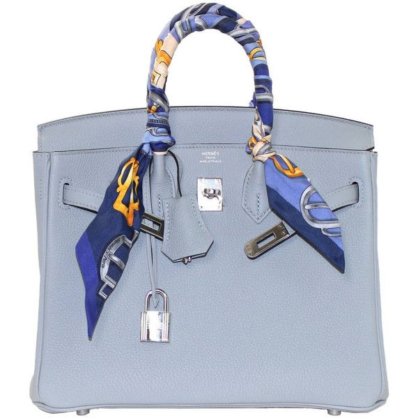 Hermes Glacier Blue Togo 25 Cm Birkin Bag- New Color (1.444.640 RUB) ❤ liked on Polyvore featuring bags, handbags, handbags and purses, hermes birkin bags, top handle bags, leather handbags, top handle bag, blue purse, evening purse and special occasion handbags