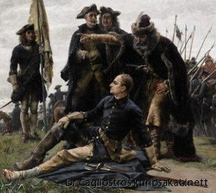 Charles XII injured in his foot at the battle of Poltava. Painting by Gustav Cederström