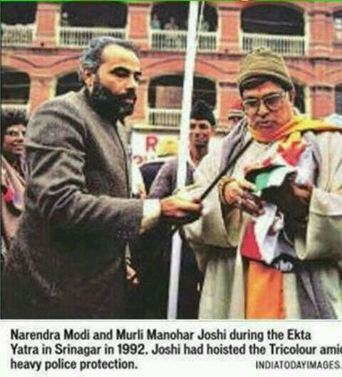 1992 :: Narendra Modi And Murli Manohar Joshi  In Lal Chowk , Srinagar To Hoist Indian Flag (@IndiaHistorypic) | Twitter