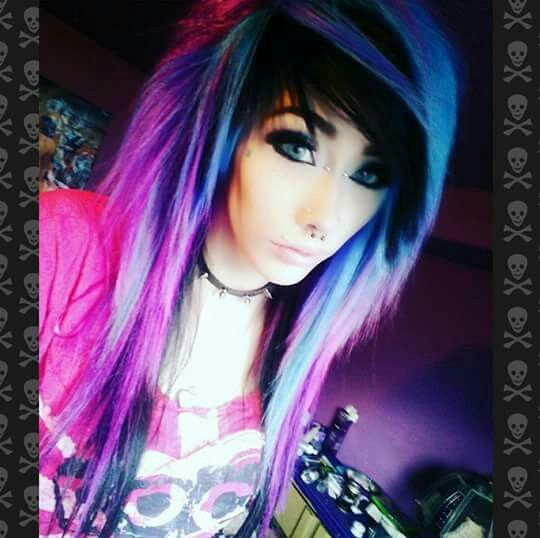 Chantelle Marie Pink purple and blue hair emo hair