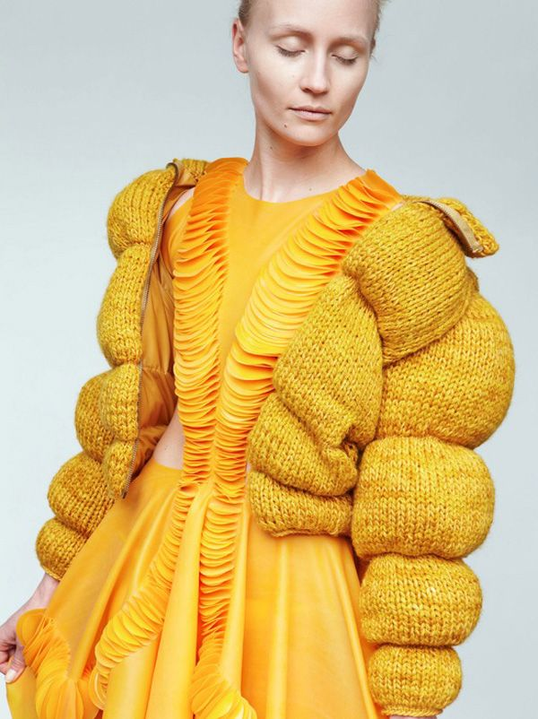 <p>Inspired by science fiction and old Hollywood movies, the young Danish designer Julie Eilenberger introduces her latest work. A knitted sweater, a crochet bathing suit and an oversize jacket, make