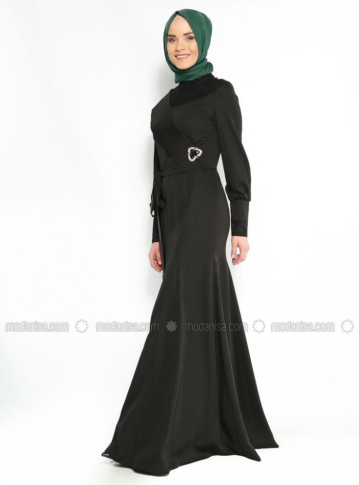 Dantelli Abiye Elbise - Siyah - Avenna