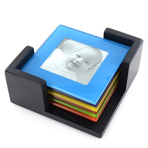 From 5.99 Set Of 6 Coloured Glass Photo Coasters Picture Frame Placemats Drinks Cup Mat Shopmonk