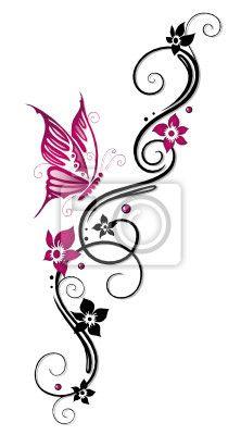 """Papier peint """"papillon, fleurir, fleurir - ranke, flore, fleurs, papillons, noir, rose"""" ✓ Un large choix de matériaux ✓ Impression écologique 100% ✓ Regardez des opinions de nos clients !"""