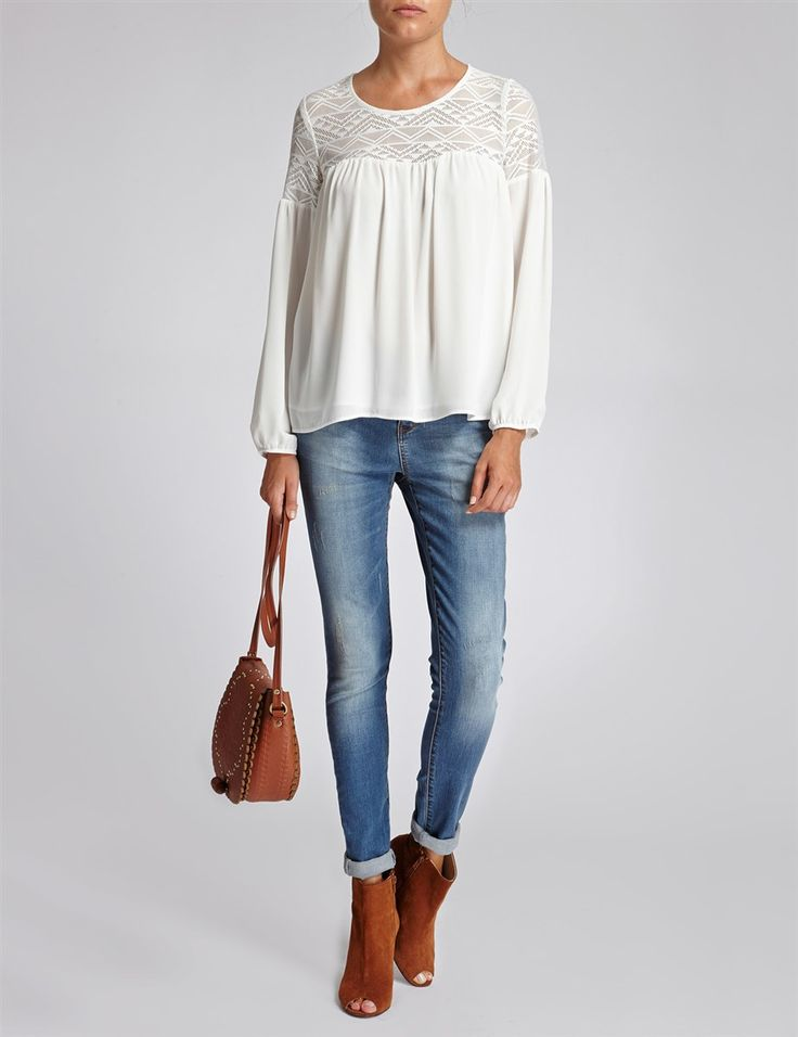 Top broderie anglaise uni