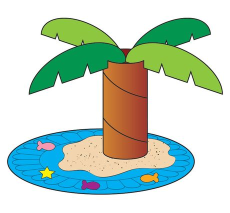 Paint the back of a heavy-duty paper plate blue (ocean) and a cardboard tube brown (tree trunk). Cut out several palm-shaped leaves; then cut a slit in each leaf and slide the leaves on the tree trunk as shown. (Hint: Add a touch of glue to secure the leaves in place.) Glue the resulting palm tree to the ocean, surrounding it with extra glue. Then sprinkle a generous amount of sand on the glue so it resembles an island.  glue confetti fish and other sea critters to the ocean!