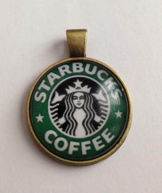 Vintage Starbucks Cabochon Bronze Pendant, Glass Dome Pendant, Starbucks Cabochon, Starbucks Pendant, Ships From USA by BeadsDesignedbyRenea on Etsy