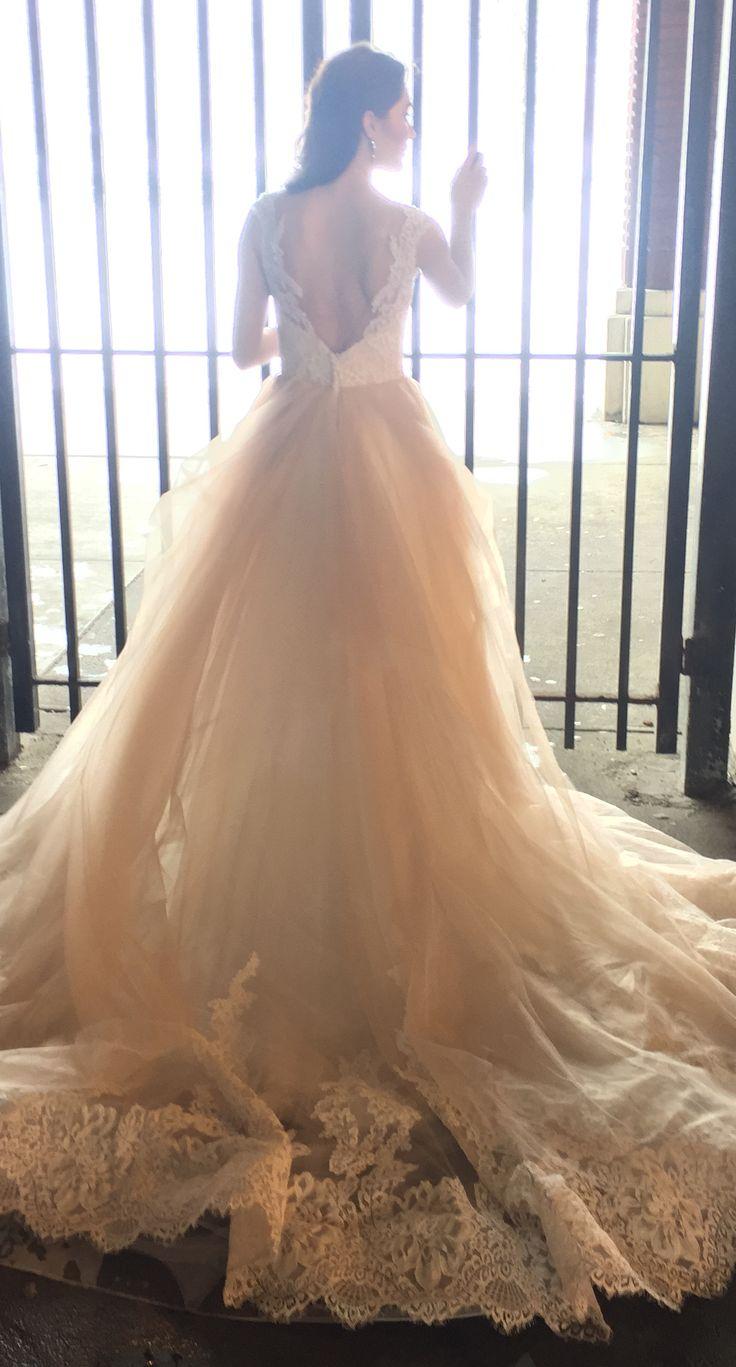AZALEA Fall 2017 -- Blush tulle ballgown with lace V neck bodice | Kelly Faetanini wedding dress