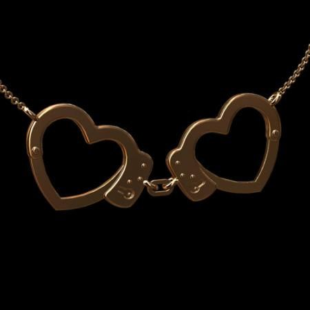 solid 14K pink gold police heart handcuffs necklace - perfect for us police wives!