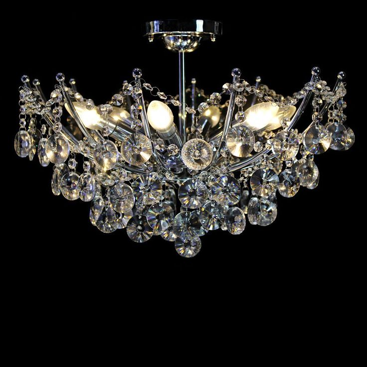 Dst Modern 6 Lights Clear Crystal Ceiling Light Pendant Chandelier Lamp For Living Room Dining