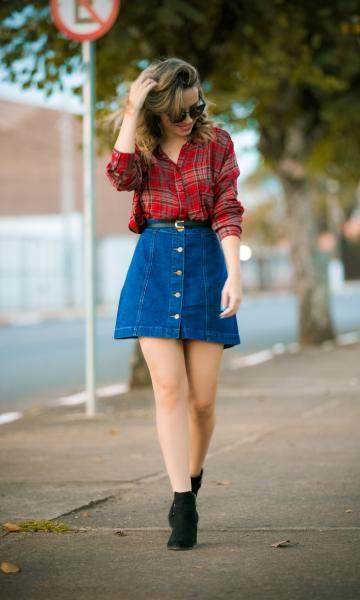 Saia Jeans e Camisa Xadrez (look!)