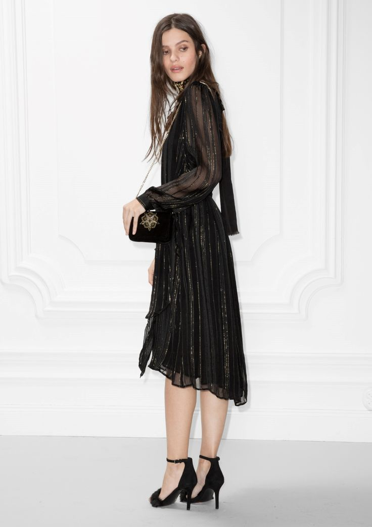 & Other Stories image 3 of Metallic Stripes Frill Dress in Black