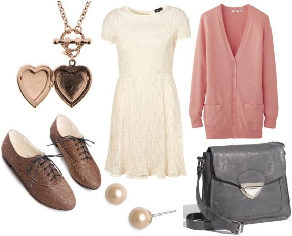 lace dress look for day with brown oxfords pale pink cardigan gray stachel
