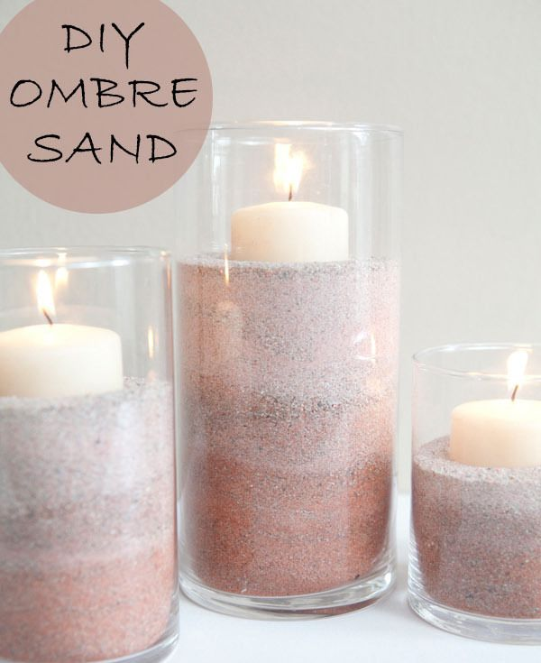 DIY wedding centerpieces with ombre sand and candles for beach wedding ideas