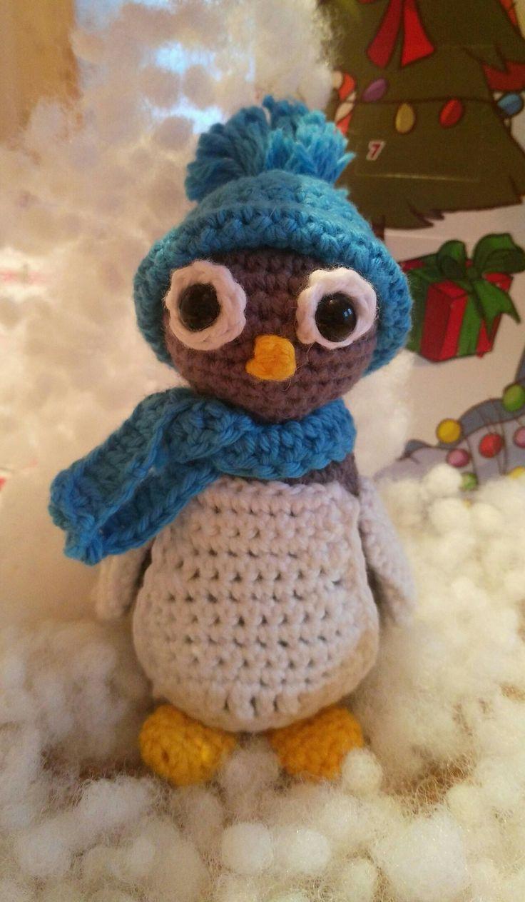 crochet penguin and snow