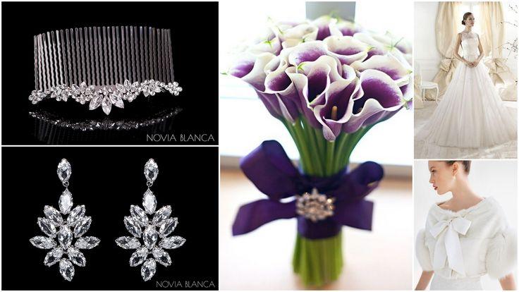 calla flower wedding bridal comb and earrings NOVIA BLANCA biżuteria ślubna www.novia-blanca.pl
