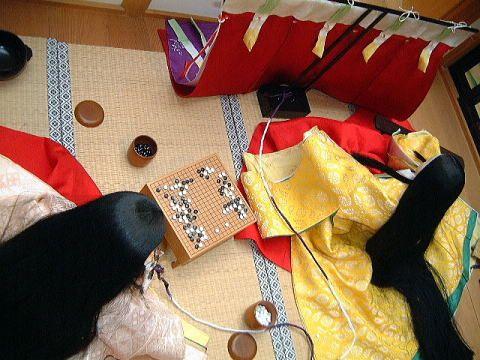 Heian ladies playing Go. from http://kakitutei.gozaru.jp/kyoto08may/17/6.html