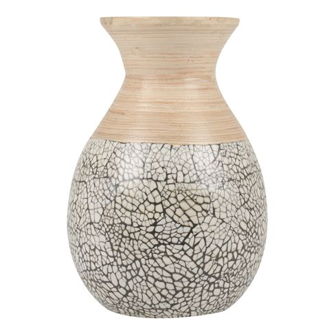 vase bamboo with natural & grey 30cm