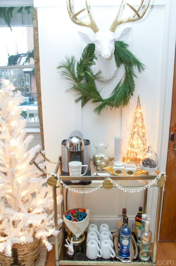 DIY Christmas styled coffee bar cart and hot coffee cocktail recipes.
