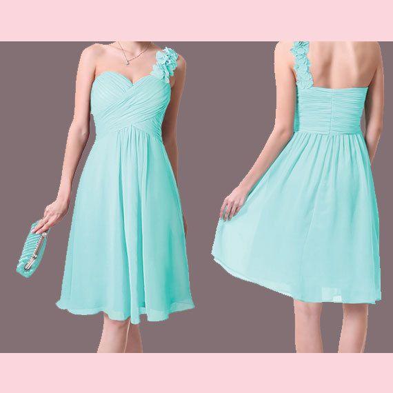 Aqua Bridesmaid Dress Short Chiffon By Prettyobession 75 00