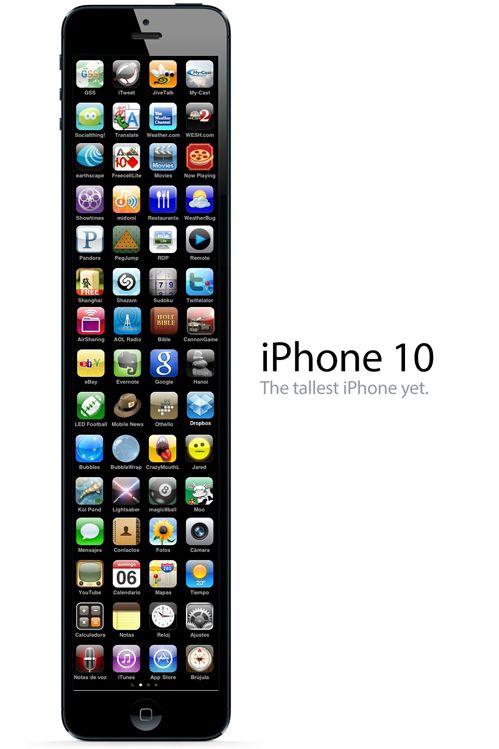 """iPhone 10: el más alto.  Traerá cámara de 9 megapíxeles y medio y 1,3 gigas de ram… el iPhone 10""""s"""" será igual pero con un lazo. xDD"""